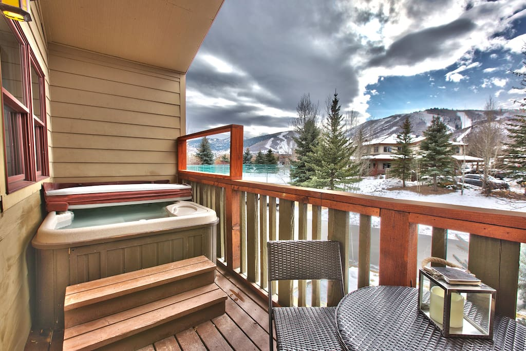Front Deck with Hot Tub and Deer Valley and Park City Mountain Ski Run Views