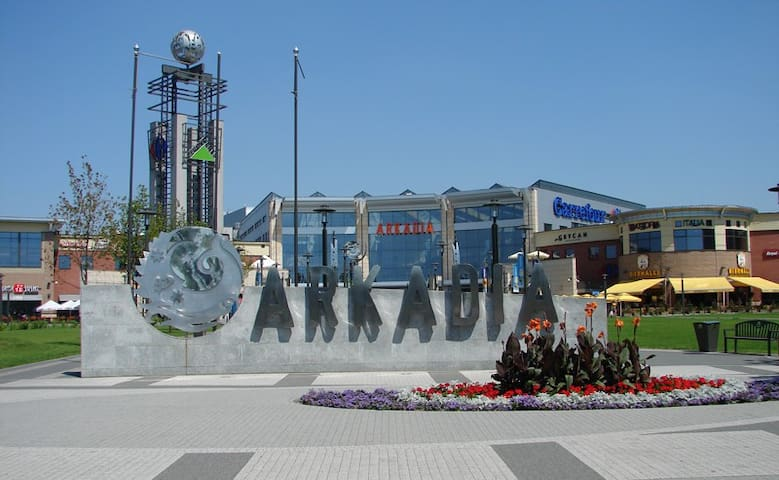 'Arkadia'  Mall across the road with over 180 shopping arcades, 30 restaurants, gym and a cinema