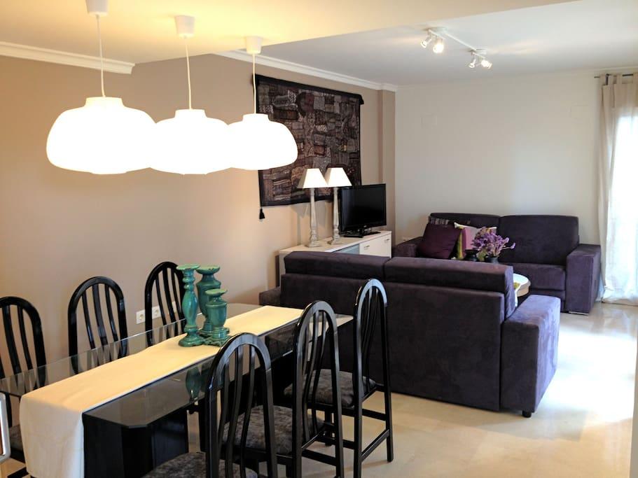 Salón comedor, con tv, acceso a la terraza y a la cocina.