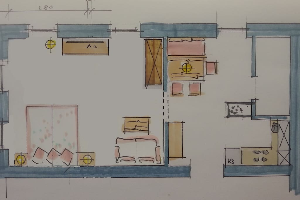 Sketch of the apartment - A big sleeping room, the fully equiped kitchen with a cosy eating table, bathroom with a big shower.