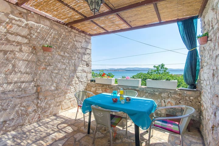 One bedroom Stone house, beachfront in Prvic Sepurine, Terrace