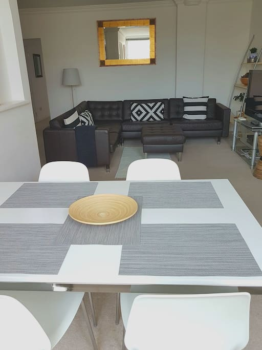 The new high gloss dining table and chairs.