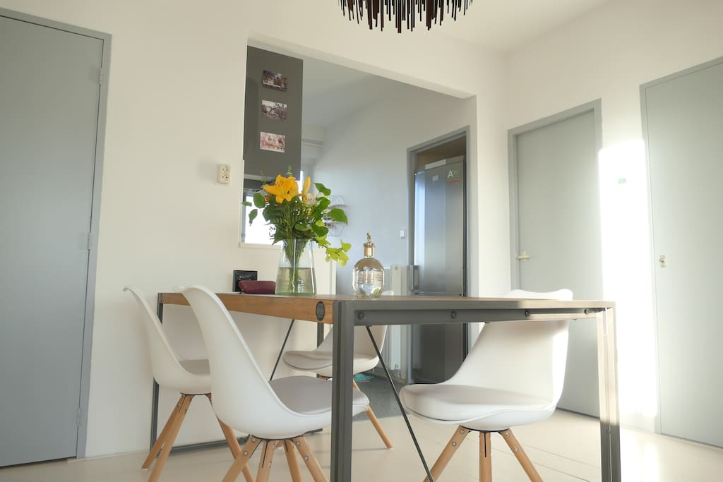 Spacious dinning table for you to eat, work,...