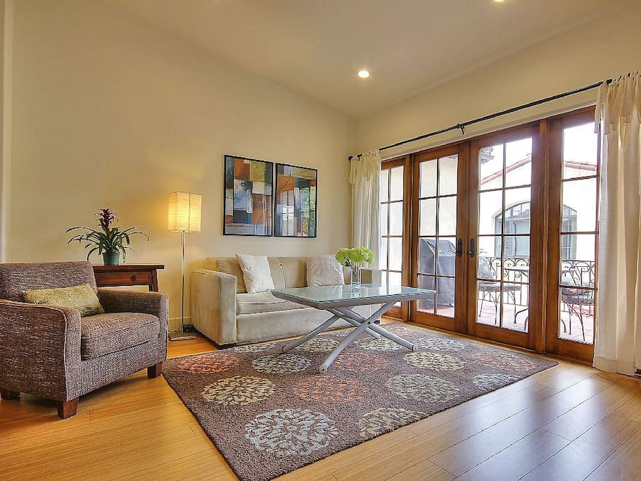 The staircase will lead into a spacious great room. Couch pulls out to queen sofa bed (sleeps 2)