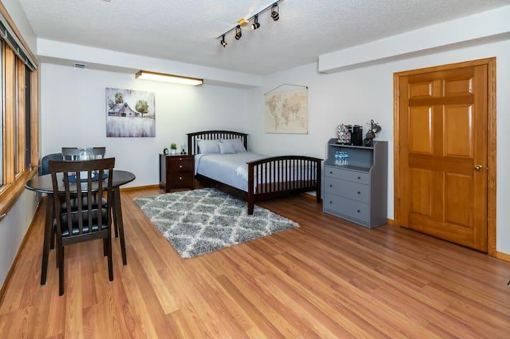 Spacious lower bedroom, complementary Keurig coffee maker.