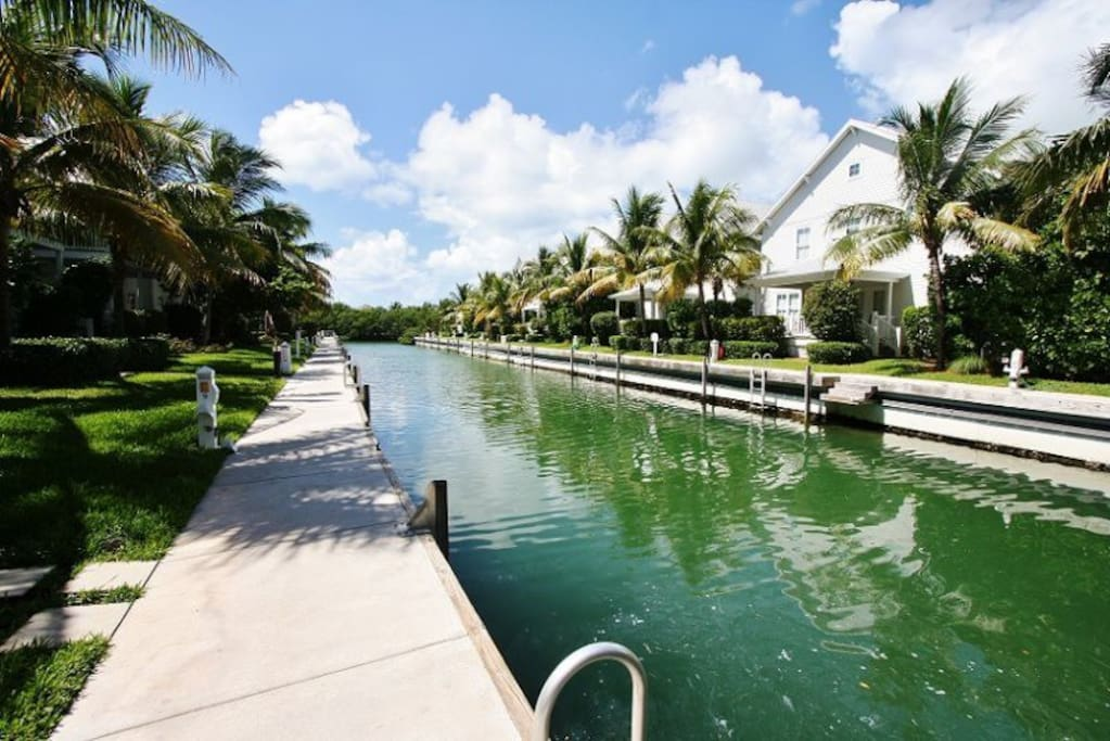 Enjoy Canal Views from the Back Porch of Your Villa at Coral Lagoon