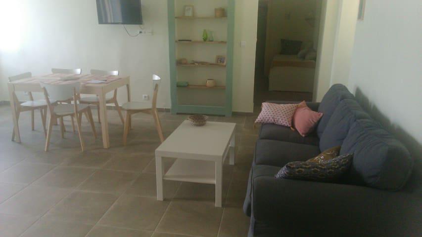 salon  (+ petit hall avec lit 1place à l'arrière-plan)