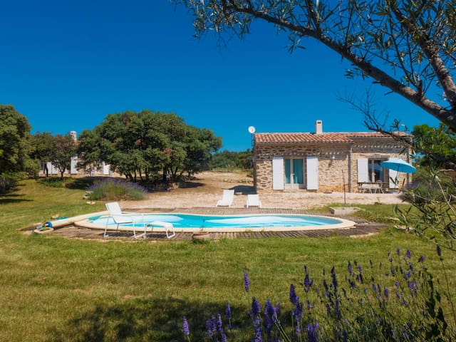 Charming sheepfold with swimming pool in nature