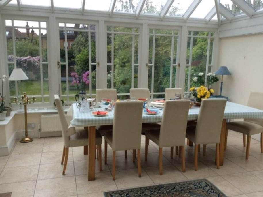 Our conservatory can seat up to 10 people.