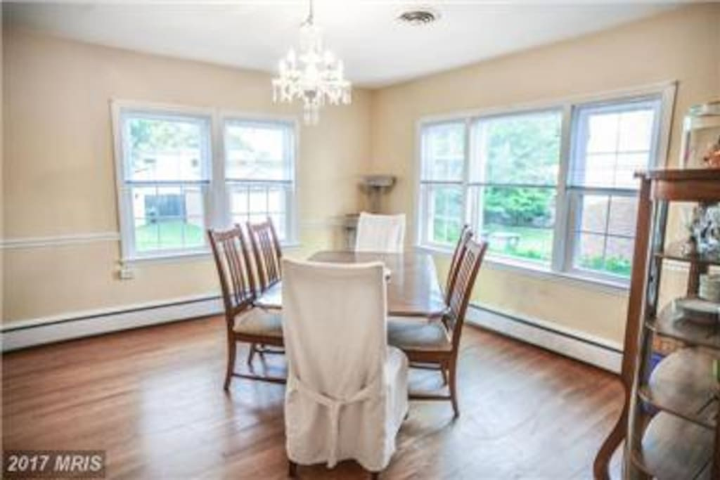 Eat in the sunny dining room