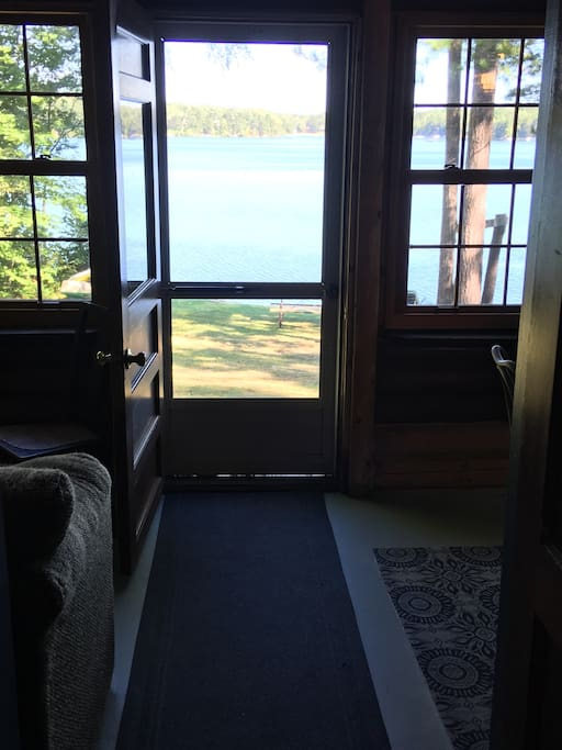 Beautiful view looking out to the lake from porch