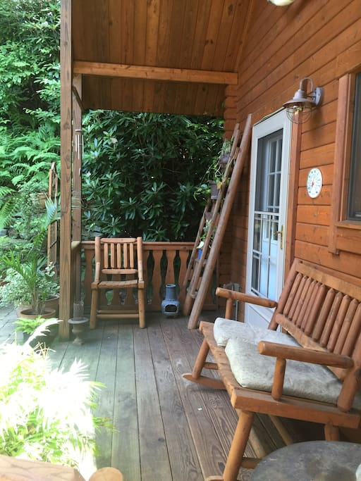 Private patio in front of the cabin