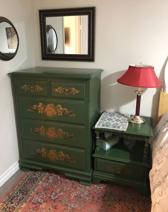 A solid chest of drawers to store your clothes.
