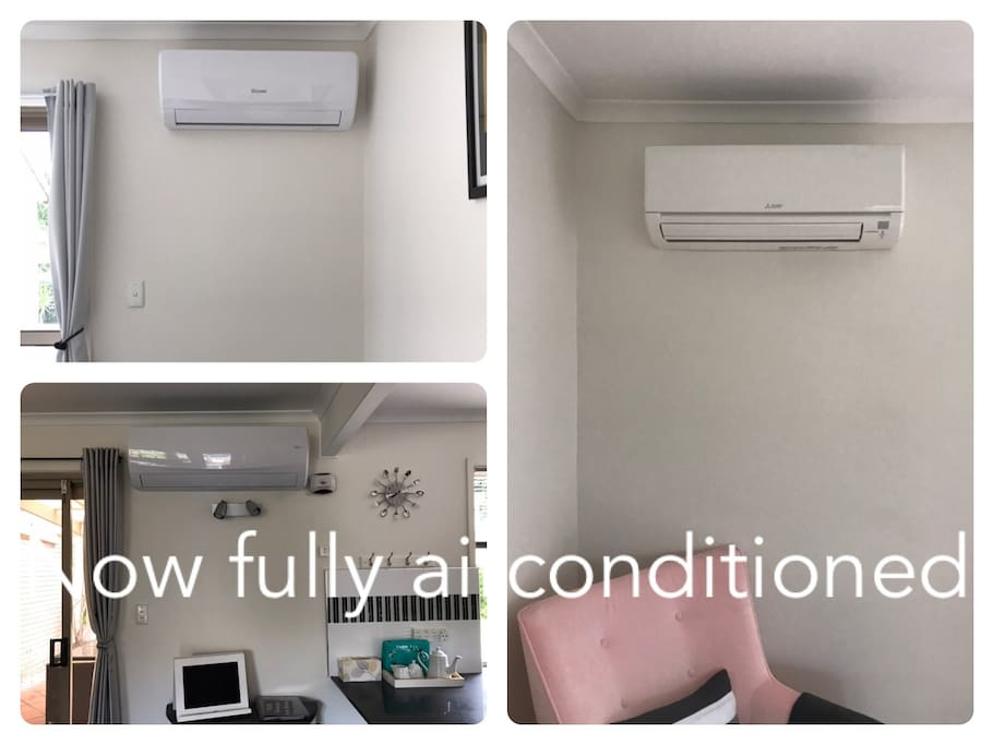 Air conditioning downstairs and in 2 bedrooms