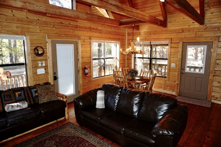 The Colorado Cabin is a great getaway for a couple or a family. The kitchen is fully stocked. There is plenty of room at the bar or dining room table for a tasty meal.