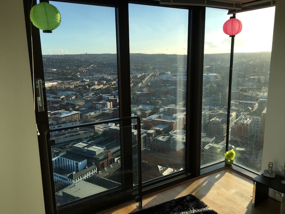 Panoramic views of Sheffield from the living room