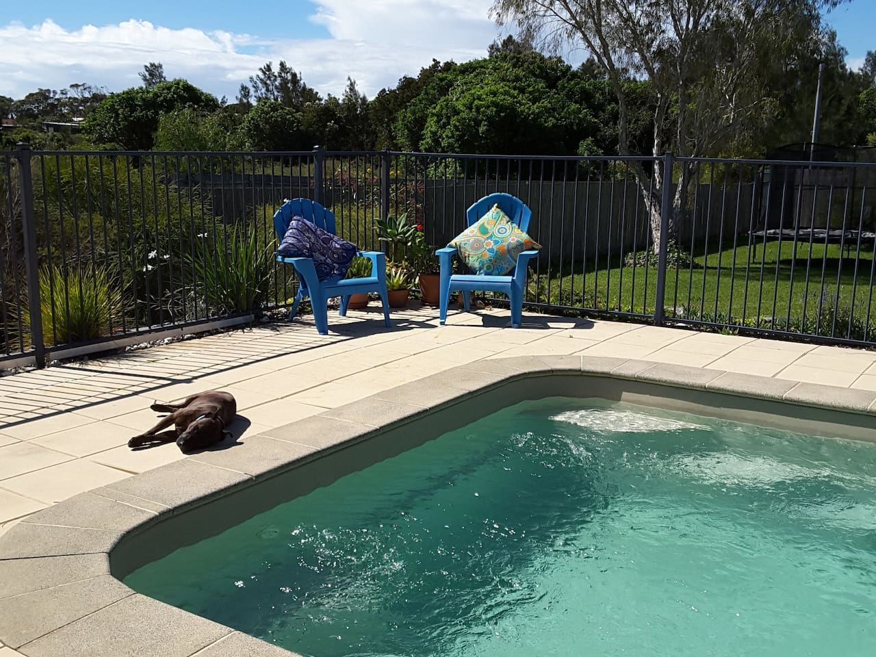 Relaxing by the Saltwater Pool
