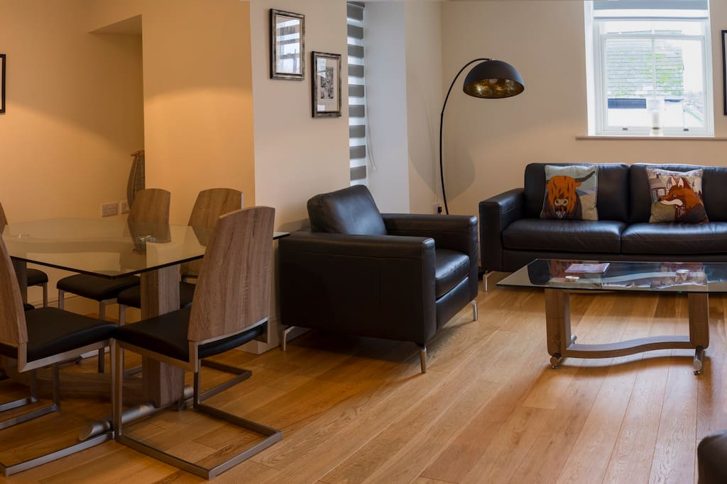 Contemporary, elegant furnishings in the wonderful living space.