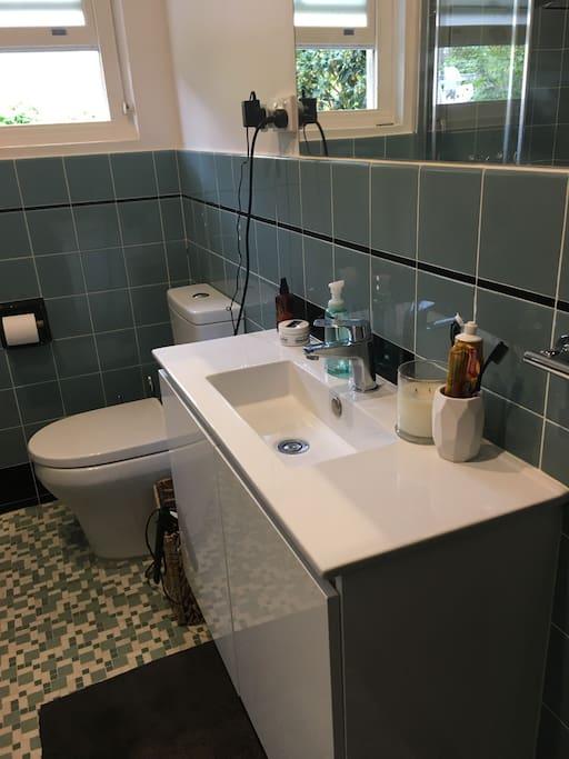 Retro, updated bathroom.