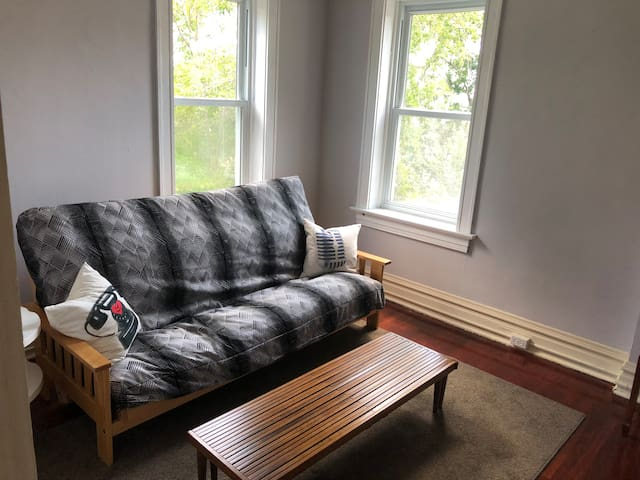 Futon room.  Can convert to queen bed.