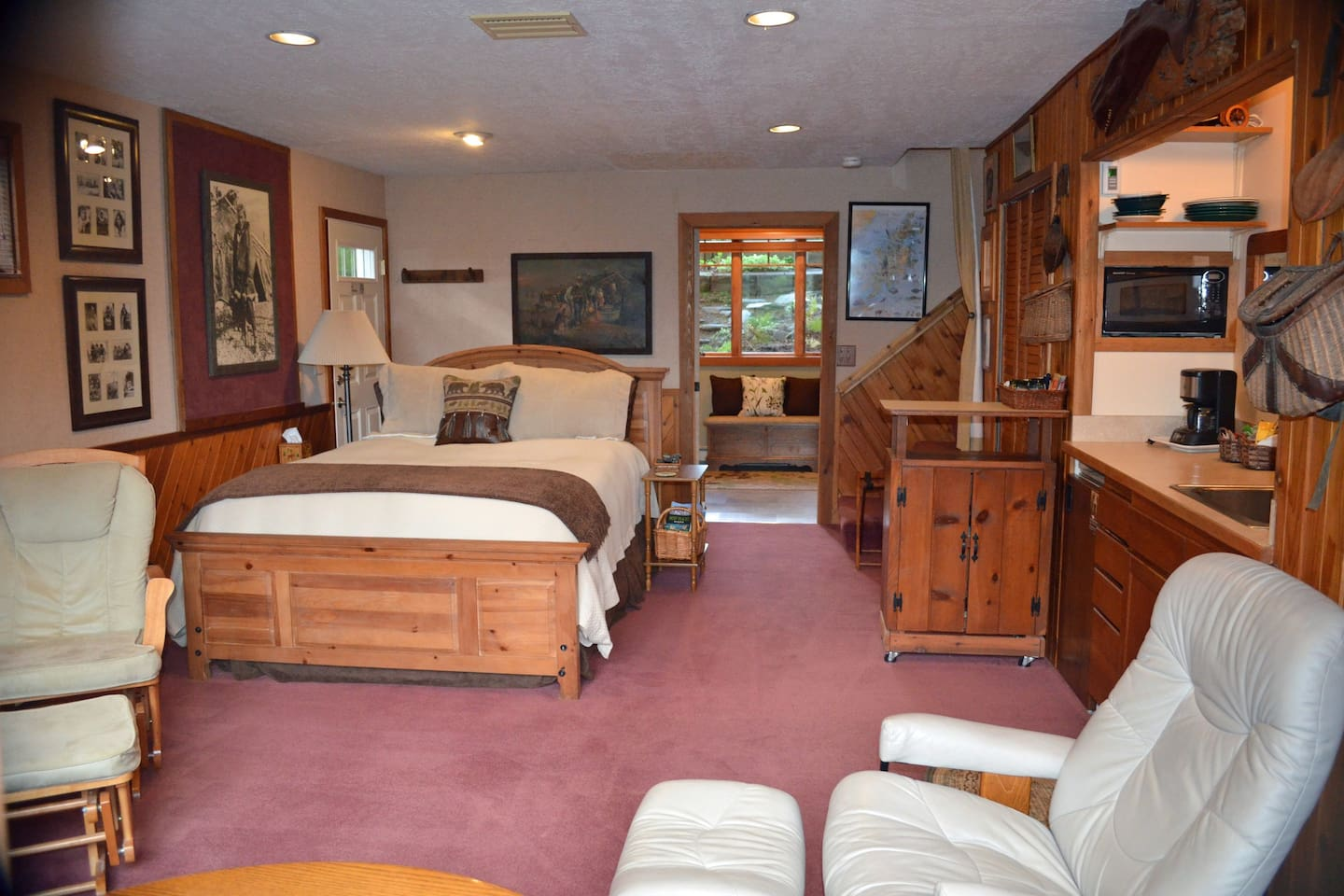 Spacious Studio suite and bonus room (650 sq. ft) featuring a rich Kodiak history and ample amenities.