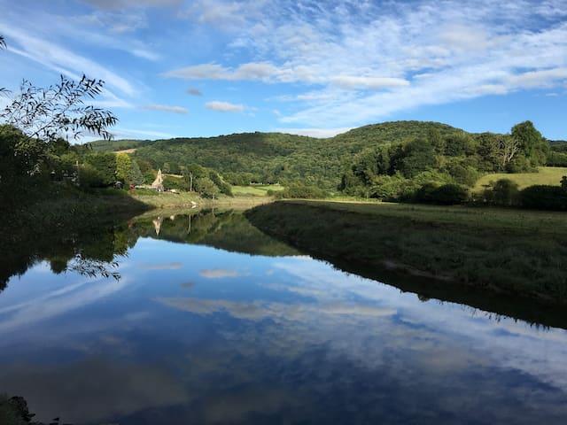 Looking across river Wye on Wye Valley walk