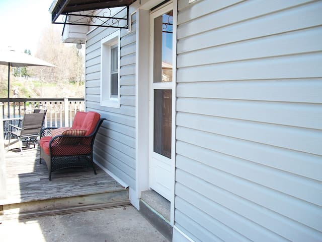 Small Step up - front door and deck
