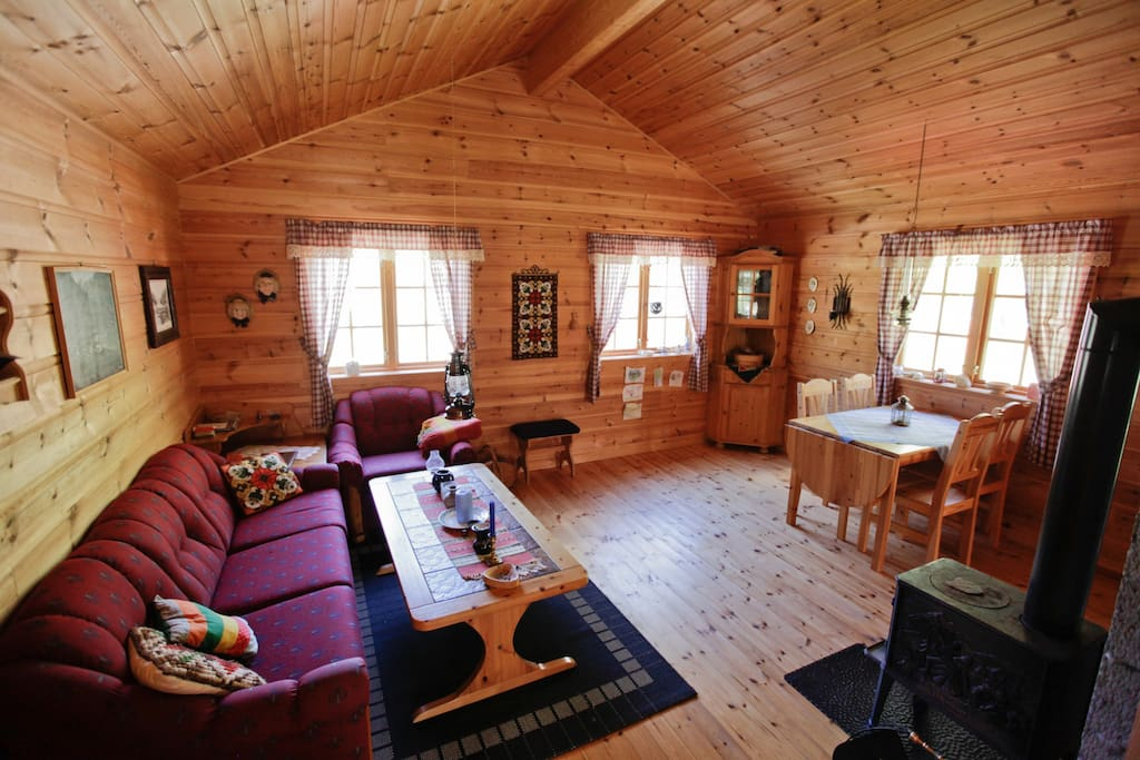 Typical Norwegian wood Cabin. The living room