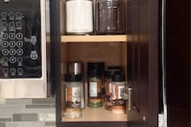 coffee, sugar, cream, cooking seasonings (whenever possible, it is not our obligation to have it, it is a part of the house as much as possible).