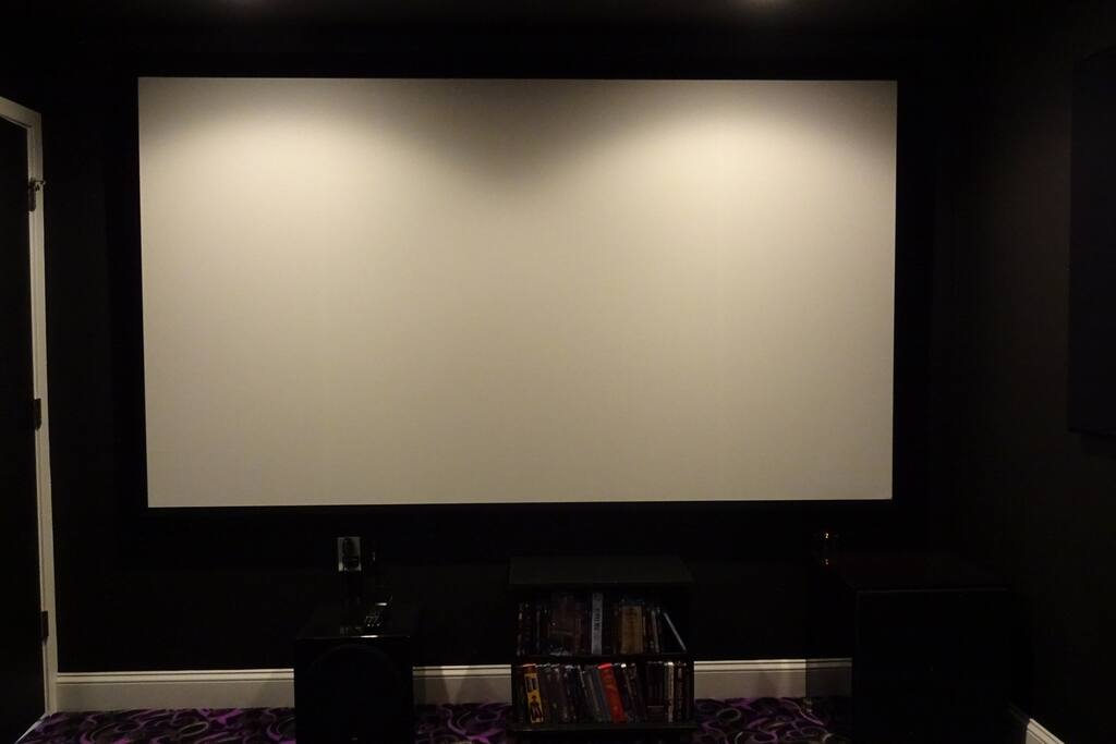 "120"" Screen, top of line JVC 3D projector."