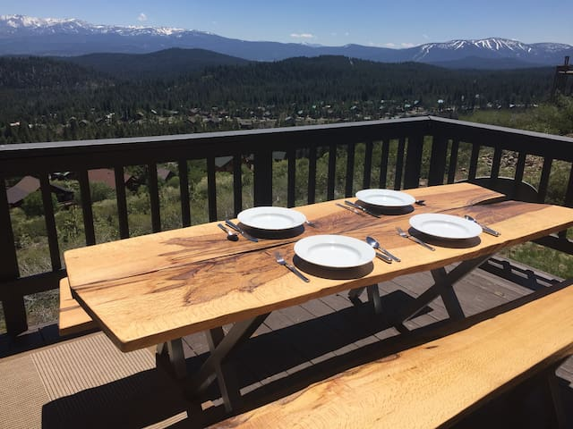 Custom Oak Picnic Table with View added Summer 2016