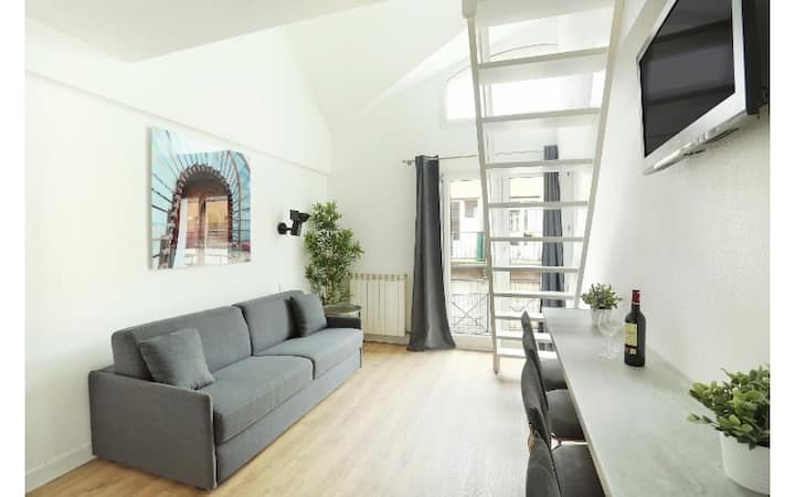 Comfortable Mezzanine Studio for family of 4 in Les Lilas