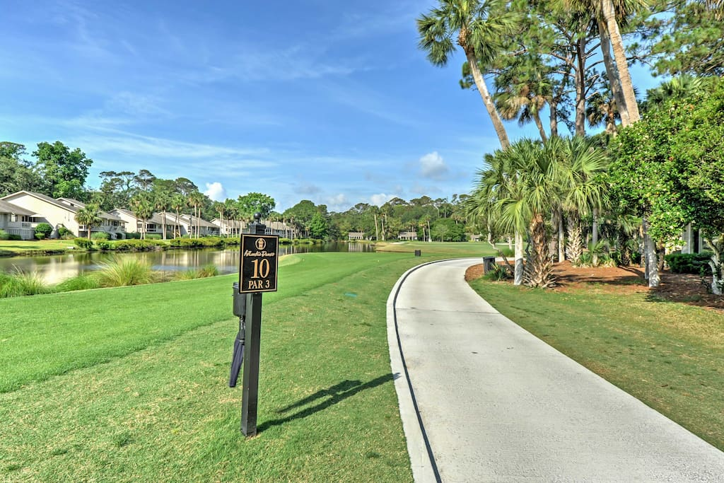 The 1,350-square-foot villa is located in the Sea Pines Resort, right on the 10th hole of the new Atlantic Dunes golf course.