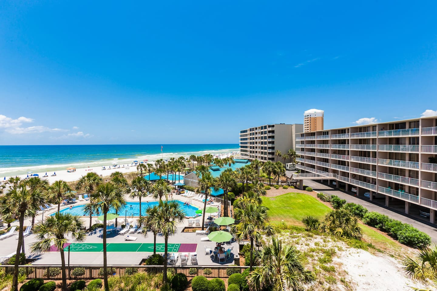 Welcome to Panama City Beach! Your rental is professionally managed by TurnKey Vacation Rentals. Admire your view of the Gulf and the pool from the balcony.