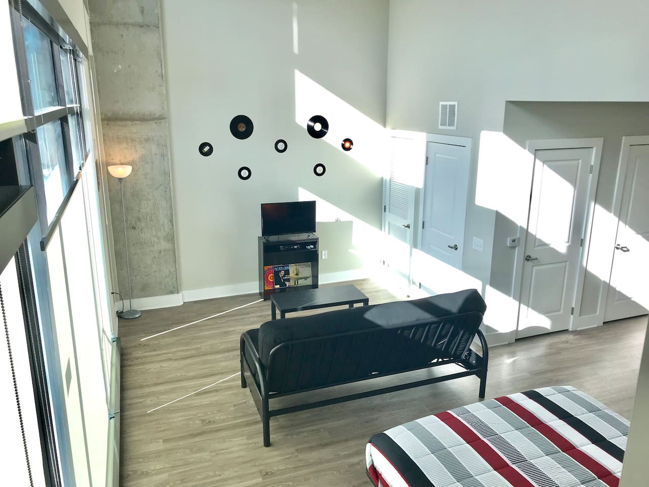 1st floor of loft!! Sleeper sofa and a Queen bed!! Very comfy!  Permit#2018010109
