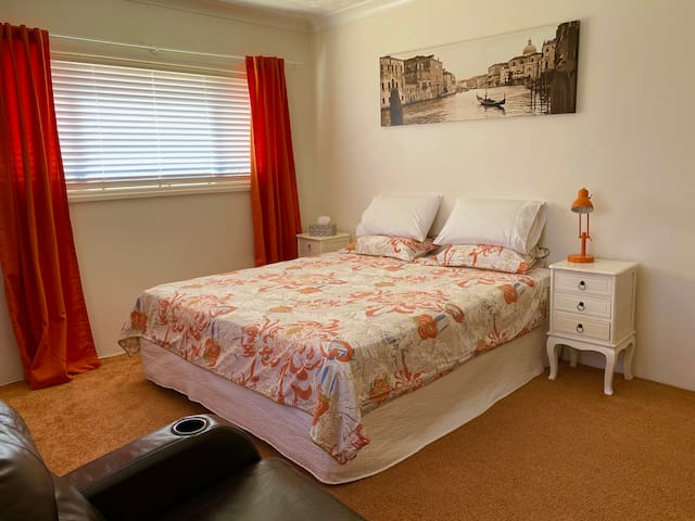 King sized bedroom, air conditioned