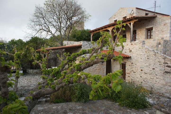 Areopoli stone house with sea view and garden