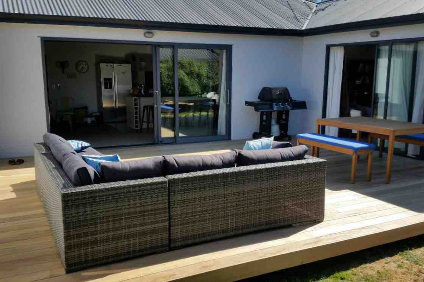 Sunny private deck area perfect for outside dining and BBQs.