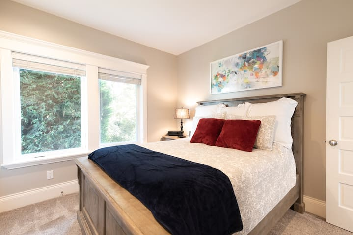 The private bedroom has a queen-sized bed our guests rave about, with super soft sheets and a new mattress.