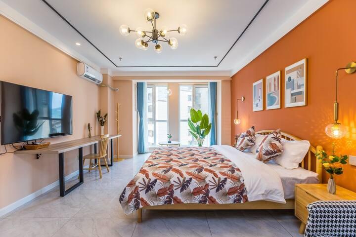 【嘉楠民宿】橙室,高铁站前/大学城/避暑山庄温馨一居室。