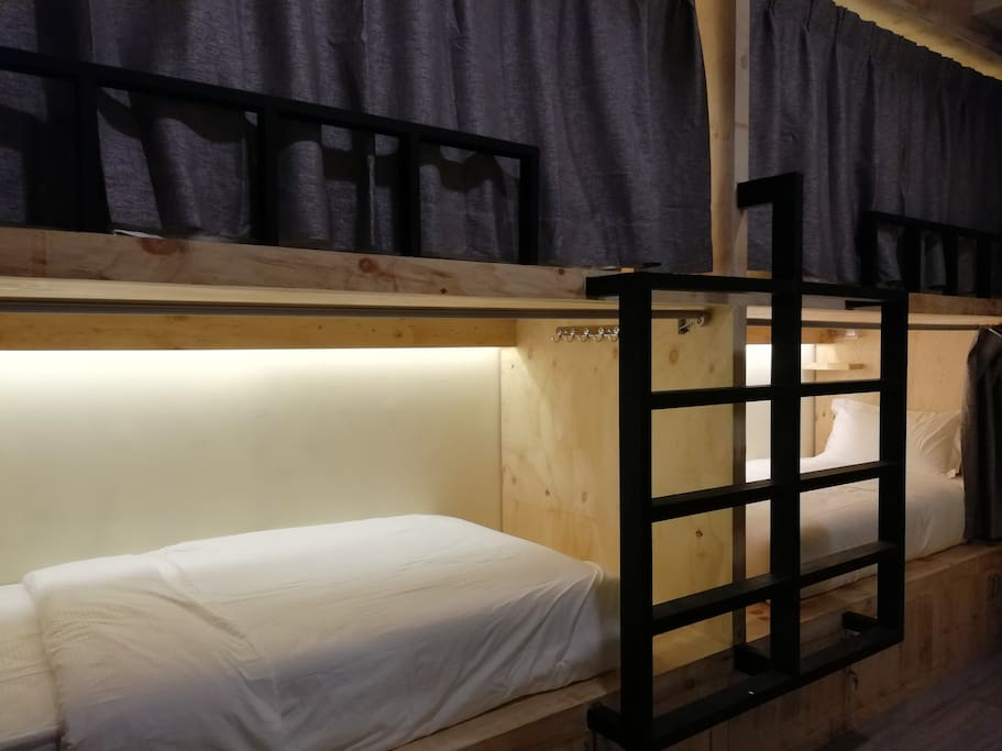 Bed with Privacy Curtains, Night Light, International Socket and Lockers