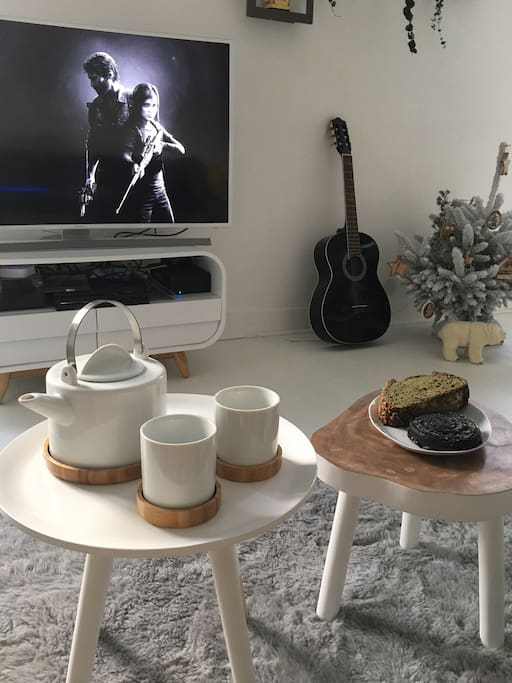 Cozy moment - tea and French patisery