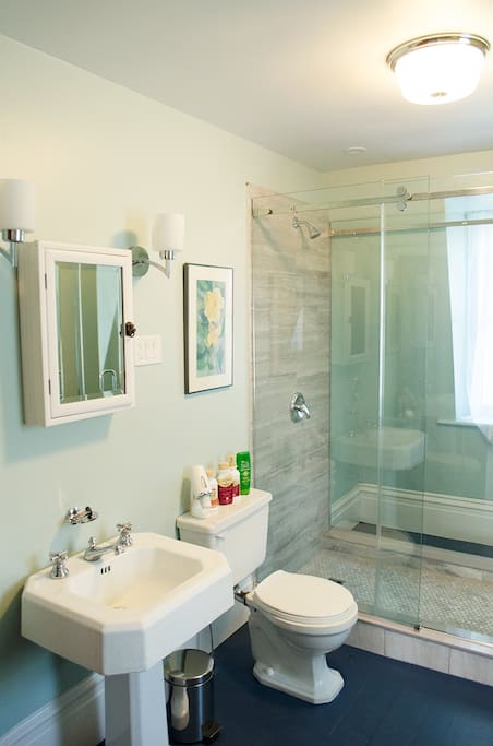 Washroom on second floor with large walk in shower.