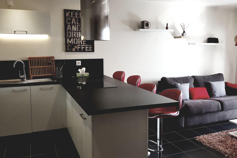 Belle espace de vie avec cuisine ouverte sur le salon