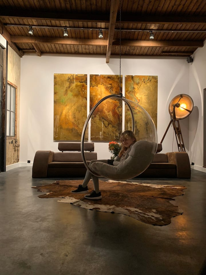 Old factory, unique designers loft with wellness