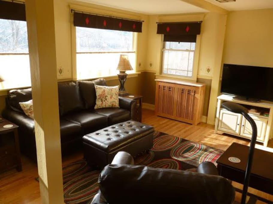 Back family room,  views to downtown and river (seasonal).