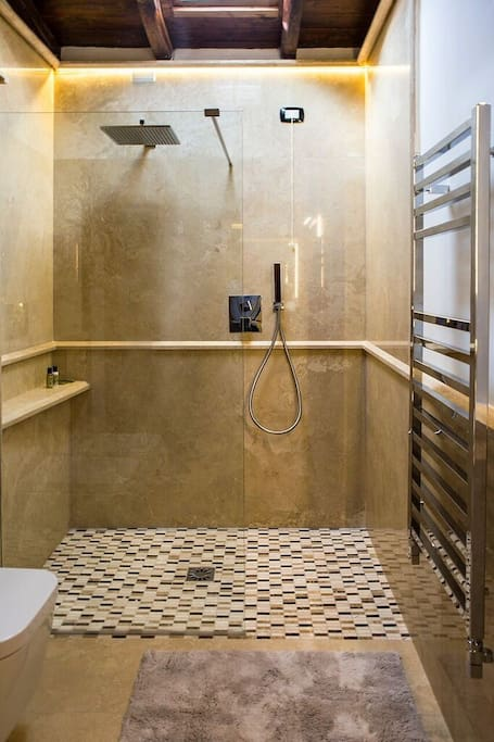 Italian marble Bathrooms, with large walk in showers