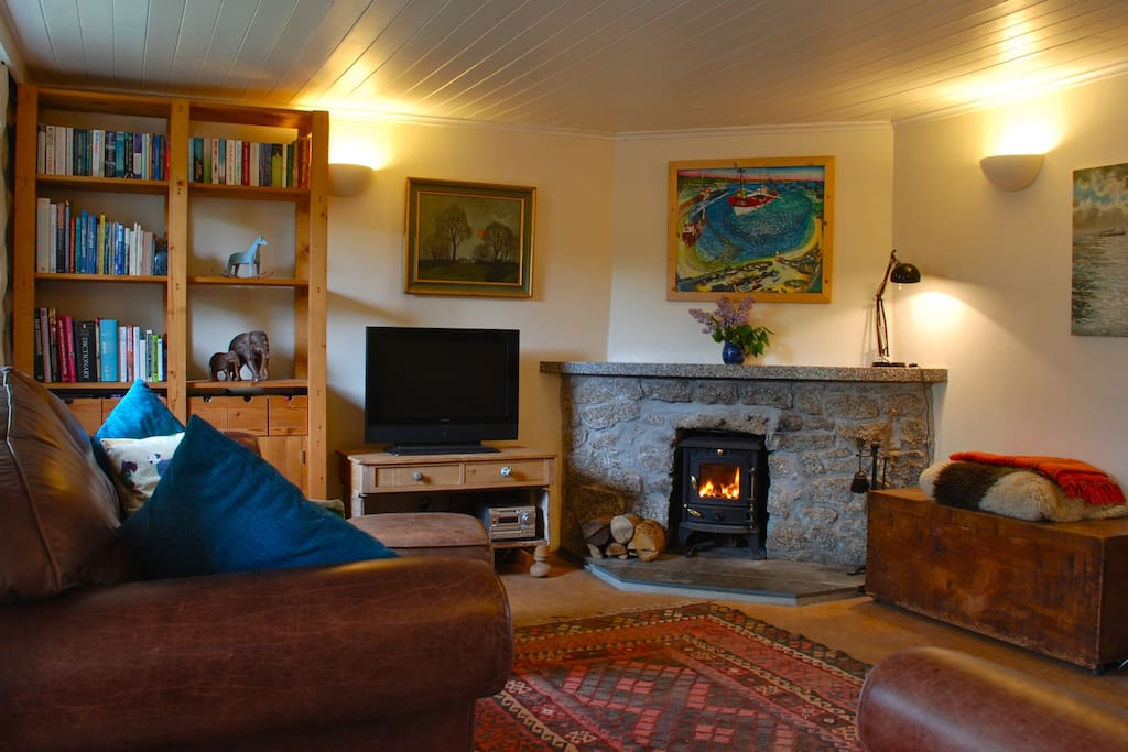 Woodburning stove, TV with freeview and DVD player, books and games for the odd rainy day.