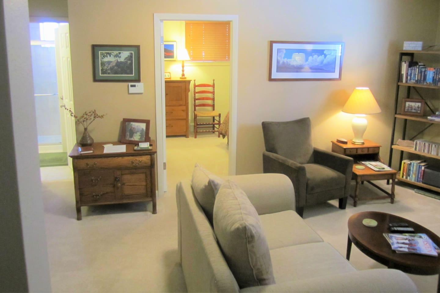 Private suite has family room, bedroom and bath