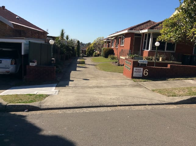 View from the street.  Drive right to the bottom of the driveway